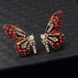 COLORFUL PAVED DIAMOND BUTTERFLY EARRINGS
